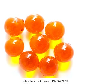 ball of fish oil on a white background. macro