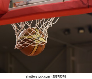 The ball flies out of the basket