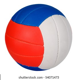 Ball with green, red and blue stripes, sport concept