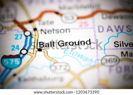 Ball Ground Georgia Usa On Map Stock Photo Edit Now 1203673390