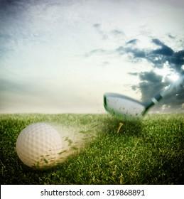 Ball hit hard by a golf club