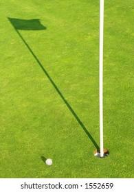 Ball near the target on the Golf-Field