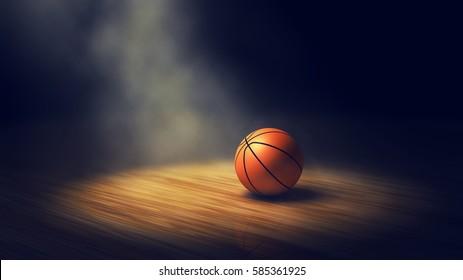 Ball on basketball court with spotlight , 3d illustration