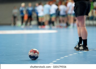 The ball on the court during a break of the handball match