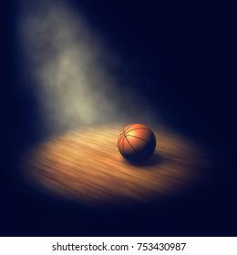 Ball on dark basketball court lit by spotlight , 3d illustration