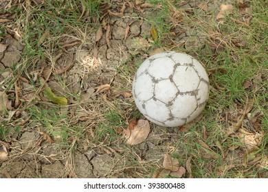 Ball on dried grass