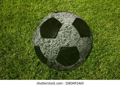 ball on soccer meadow (illustration)