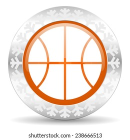 ball orange icon, christmas button, basketball sign