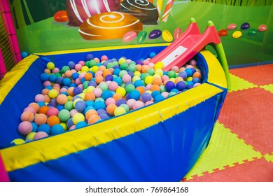 ball pool for babies / Color nice Rainbow dragee balls background. Photo Pattern design for banner, poster, flyer, card, postcard, cover, brochure High Resolution