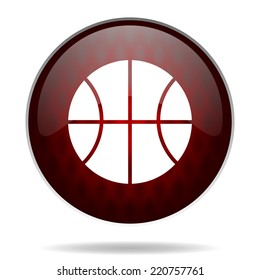 ball red glossy web icon on white background