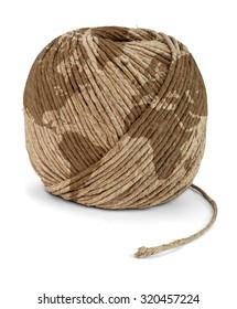 Ball of rope with Earth pattern, isolated on a white background.