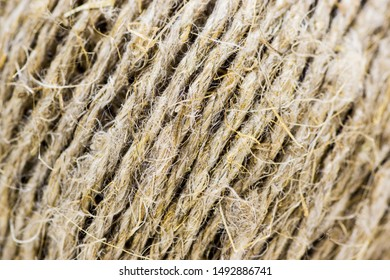 A ball of rope made of natural material close-up
