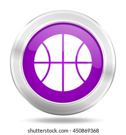 ball round glossy pink silver metallic icon, modern design web element