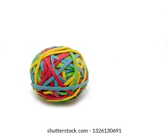 Ball of rubber bands, white background