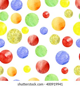 Ball. Seamless watercolor pattern with stains on the white background, aquarelle. Hand-drawn decorative element. Real watercolor painting