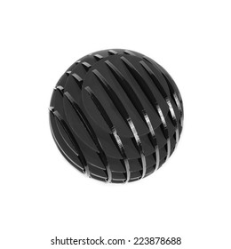 Ball, Sphere of plastic in monochrome isolated on white background