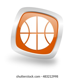 ball square glossy orange chrome silver metallic web icon