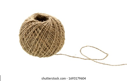 Ball of string isolated on white. Natural rope. Skein of jute twine.