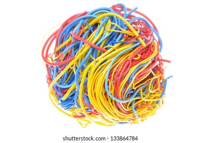 Ball of tangled cables isolated on white background