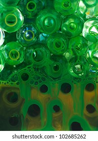 ball transparent liquid with yellow pigment and green