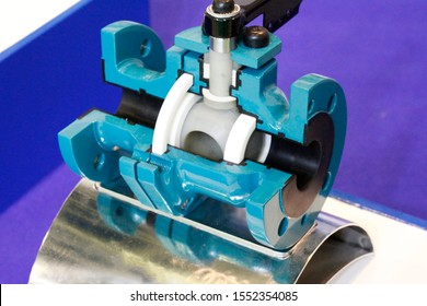Ball valve for a chemical plant. The valve is presented in section. The cross section shows the internal structure of the shutter. Armature for a chemical plant.