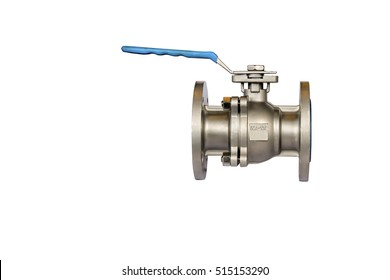 ball valve flange type, stainless steel, isolated on white background with clipping paths