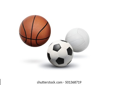 Ball with Volleybal and Basketball floating above the ground on isolated white background.