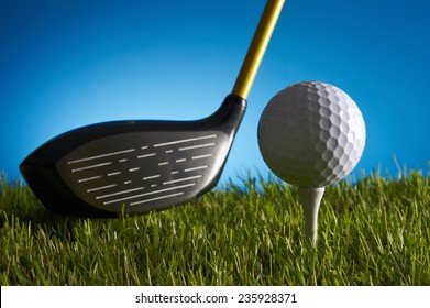 Ball and wood of golf