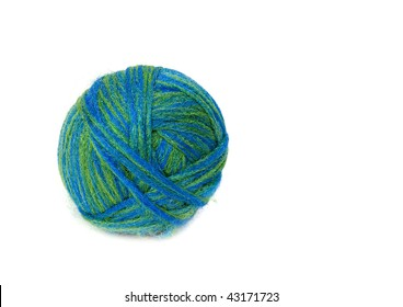 Ball of wool. Isolated on white background.