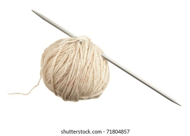 ball of wool and knitting needles isolated on a white  background
