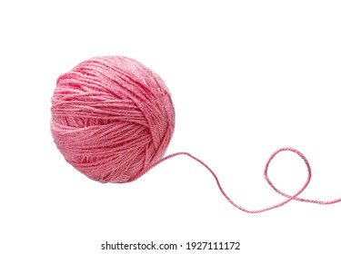 Ball of yarn isolated on white background. Woolen skeins of thread.