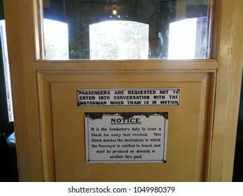 Ballarat, Victoria, Australia 03/13/2018.   Sign inside tram at  Ballarat Tram Museum