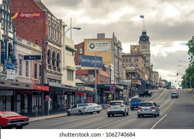 Ballarat, Victoria, Australia - Mar 25, 2018: The main street in town