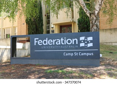 BALLARAT, VICTORIA, AUSTRALIA - November 18, 2015: The Camp Street campus of Ballarat's Federation University, a mix of both new and historical buildings, houses the Arts Academy