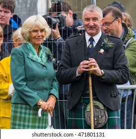 BALLATER, ABERDEENSHIRE, SCOTLAND - 11 AUGUST: This is Camilla, Duchess of Cornwall, wife of Charles, Prince of Wales at Ballater Highland Games, Aberdeenshire, Scotland on 11 August 2016.