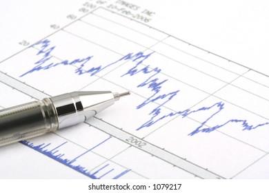 Ballboint pen on stock chart--focus on the tip of the ballpoint pen.