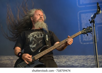 Ballenstedt, Saxony-Anhalt / GERMANY Jul 07 2017: Pain, Swedish metal band giving a concert at Rock Harz Open Air 2017 (Germany).