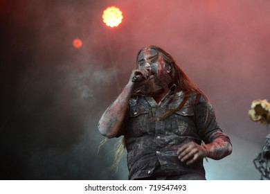 Ballenstedt, Saxony-Anhalt / GERMANY Jul 07 2017: Varg, Black metal band giving a concert at Rock Harz Open Air 2017.