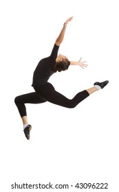 Ballerina in a black suit in the air (jump). Isolation on a white background in the studio.