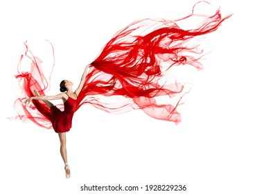 Ballerina Dance. Woman dancing Red Fabric. Graceful Ballet Dancer jumping in Air. Red Cloth flying waving on Wind. Isolated White Background