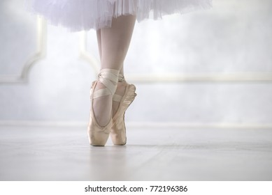 Ballerina dancing, closeup.