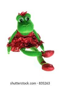 Ballerina frog figure over white
