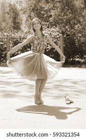 ballerina in the Park in the summer