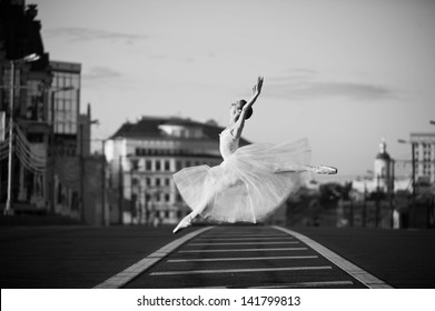Ballerina posing in the center of Moscow