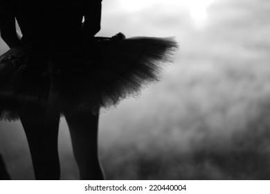 Ballerina silhouette in tutu, monochrome