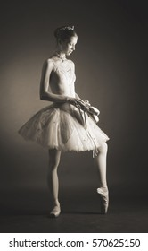 ballerina in a tutu with ballet shoes