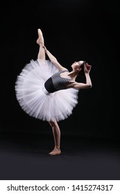 Ballerina in a tutu and pointe shoes.