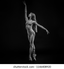 Ballerina. Young graceful woman ballet dancer, dressed in profes