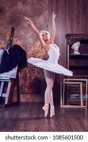 Ballerinas in a beautiful suit in an interior studio.