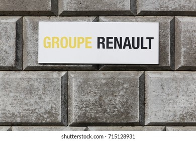 Ballerup, Denmark - September 10, 2017: Group Renault sign on a wall. Renault is a french car manufacturer producing cars, vans, buses and trucks